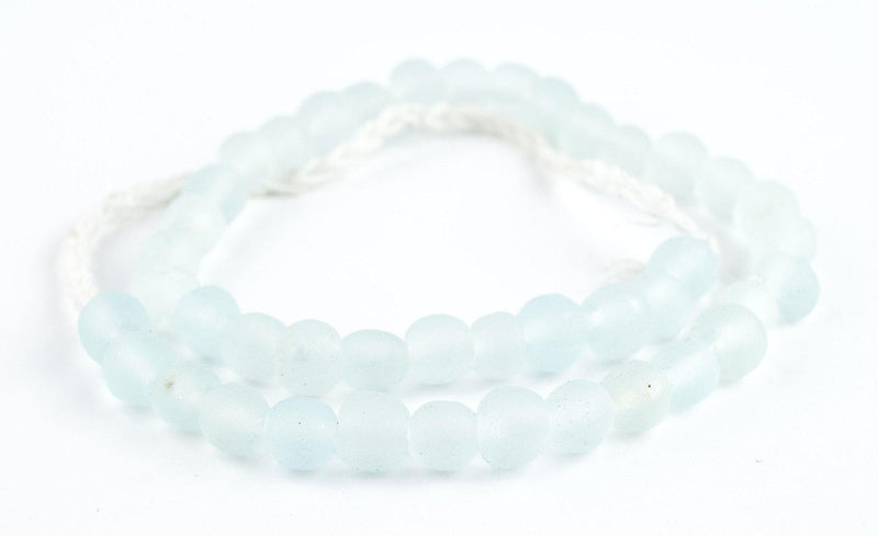 Clear Aqua Round Java Recycled Glass Beads (11mm) - The Bead Chest