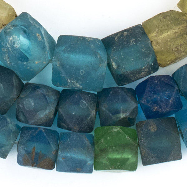 Antique Vaseline Faceted Glass Cube Beads - The Bead Chest