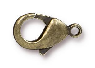 Antiqued Brass Lobster Clasps (15x9mm, 5 Pieces)