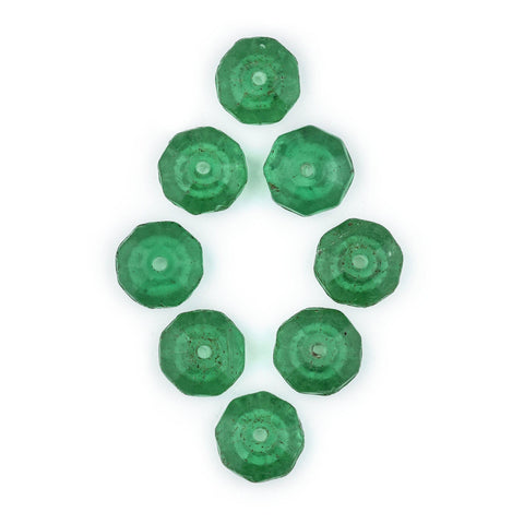 Vintage Green Czech Vaseline Trade Beads (Set of 8)
