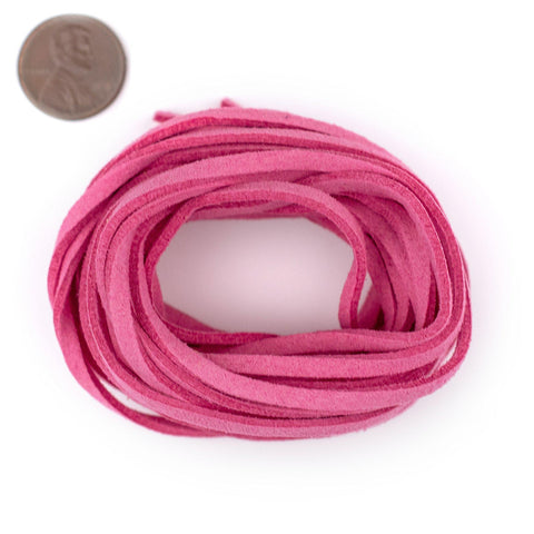3mm Flat Neon Pink Faux Suede Cord (15ft)