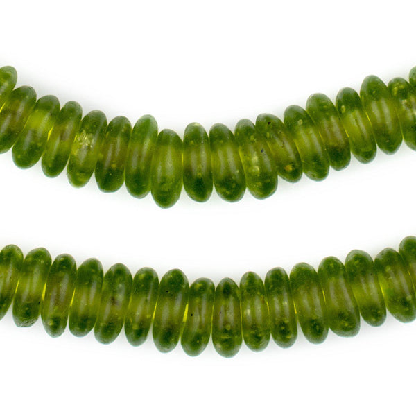 Lime Green Rondelle Recycled Glass Beads - The Bead Chest