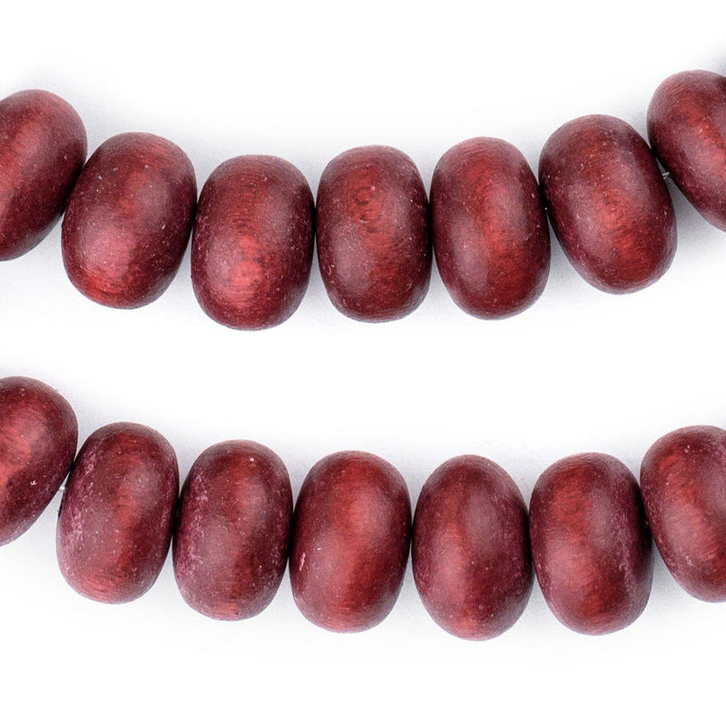 Cherry Red Abacus Natural Wood Beads (10x15mm) - The Bead Chest