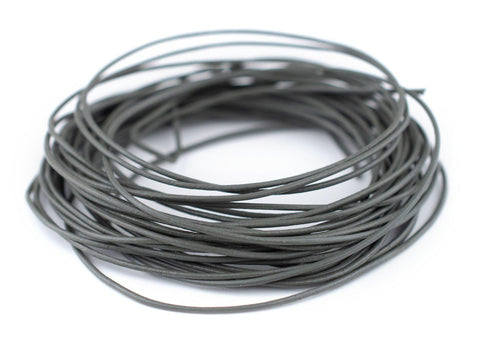 0.8mm Grey Round Leather Cord (15ft)