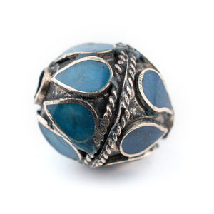 Turquoise-Inlaid Afghani Tribal Silver Bead (20mm) - The Bead Chest
