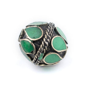 Emerald-Inlaid Afghan Tribal Silver Bead (20mm) - The Bead Chest