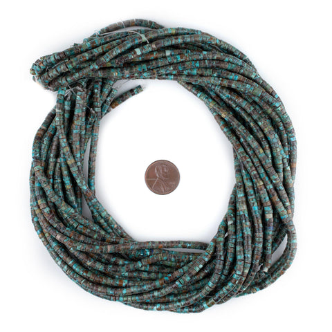 Image of Dark Turquoise Stone Heishi Beads (4mm) - The Bead Chest