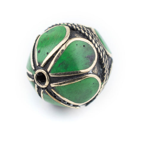 Emerald-Inlaid Afghan Tribal Silver Bead (25mm) - The Bead Chest