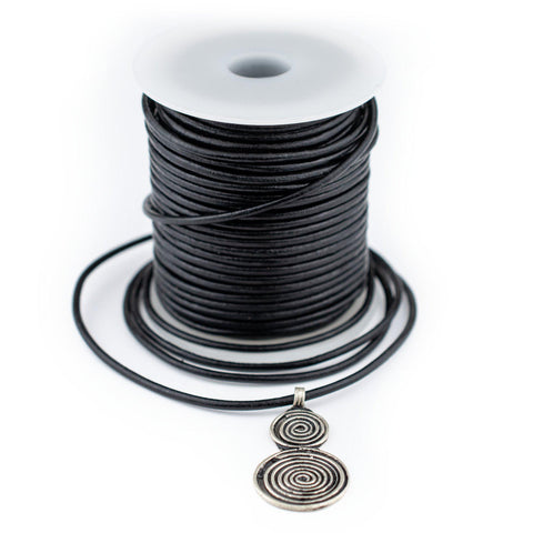 2.0mm Black Round Leather Cord (75ft)