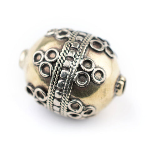 Round Afghan Tribal Brass Bead (26x20mm) - The Bead Chest