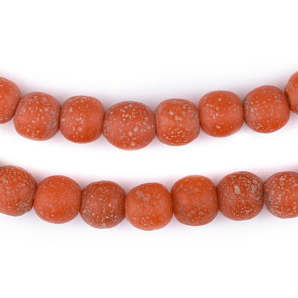 Papaya Orange Ancient Style Java Glass Beads (9mm)