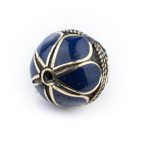 Lapis-Inlaid Afghan Tribal Silver Bead (25mm) - The Bead Chest
