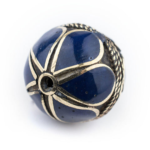 Lapis-Inlaid Afghan Tribal Silver Bead (20mm) - The Bead Chest