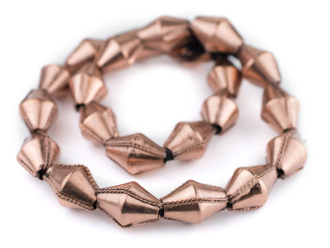 Jumbo Ethiopian Wired Copper Bicone Beads (28x20mm) - The Bead Chest
