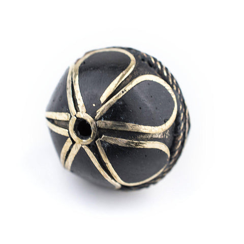 Image of Onyx-Inlaid Afghan Tribal Silver Bead (25mm) - The Bead Chest