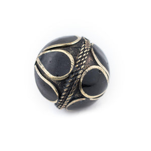 Onyx-Inlaid Afghan Tribal Silver Bead (25mm) - The Bead Chest