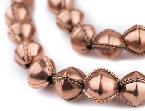 Ethiopian Wired Copper Bicone Beads (15mm) - The Bead Chest