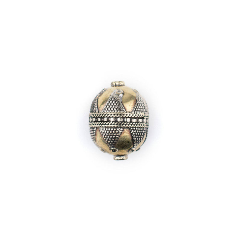 Round Afghan Tribal Brass Bead (27x20mm) - The Bead Chest