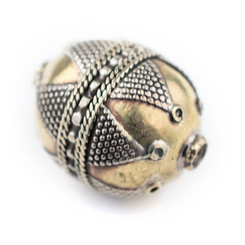 Image of Round Afghan Tribal Brass Bead (27x20mm) - The Bead Chest