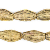 Ivory Coast Style Elongated Bicone Brass Filigree Beads (26 x 15mm)