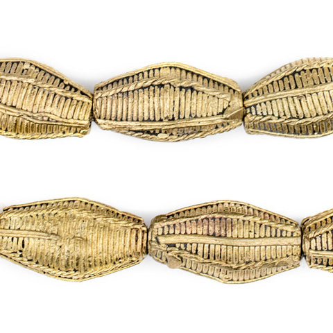 Ivory Coast Style Elongated Bicone Brass Filigree Beads (26 x 15mm) - The Bead Chest