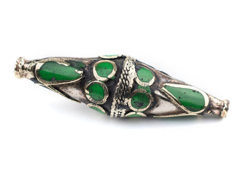 Emerald-Inlaid Elongated Afghan Tribal Silver Bead (56x17mm) - The Bead Chest