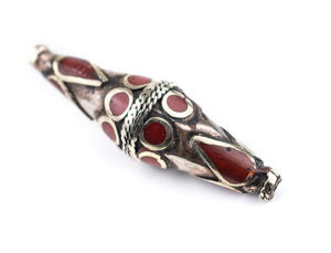 Coral-Inlaid Elongated Afghan Tribal Silver Bead (56x17mm) - The Bead Chest