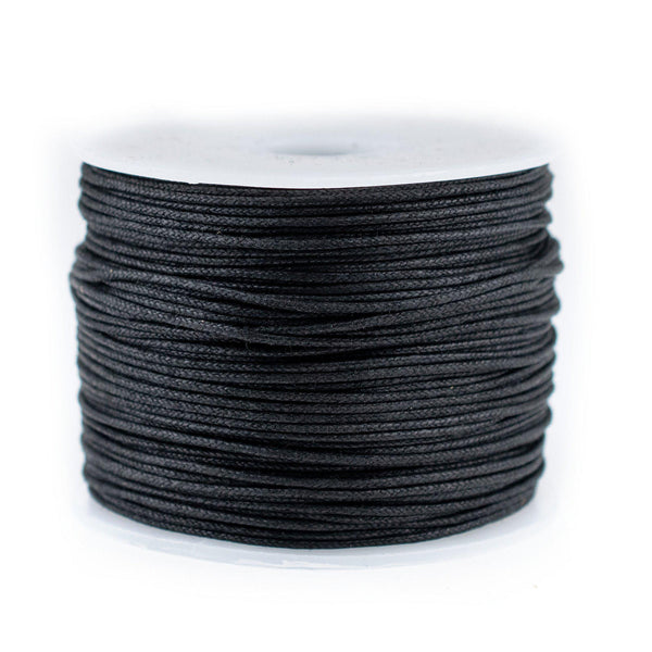 0.5mm Black Waxed Cotton Cord (300ft)