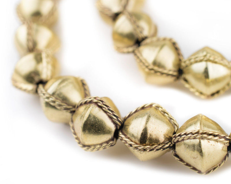 Ethiopian Wired Brass Bicone Beads (15mm) - The Bead Chest