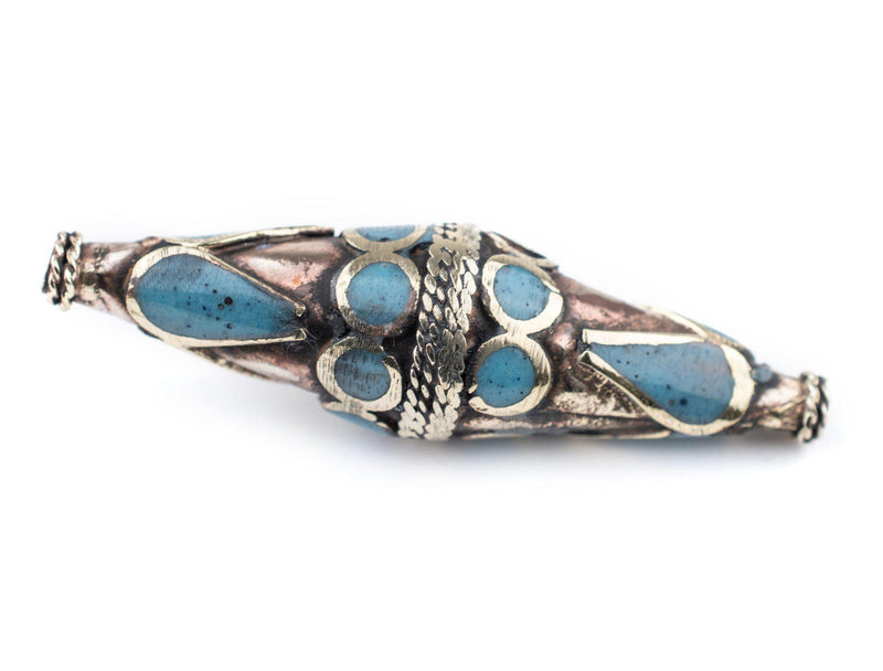 Turquoise-Inlaid Elongated Afghan Tribal Silver Bead (56x17mm) - The Bead Chest