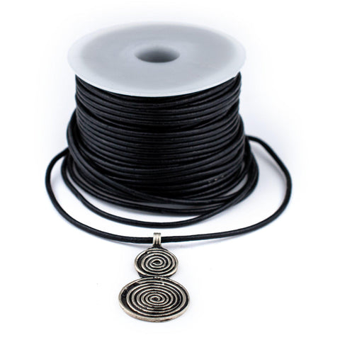 1.5mm Black Round Leather Cord (75ft)