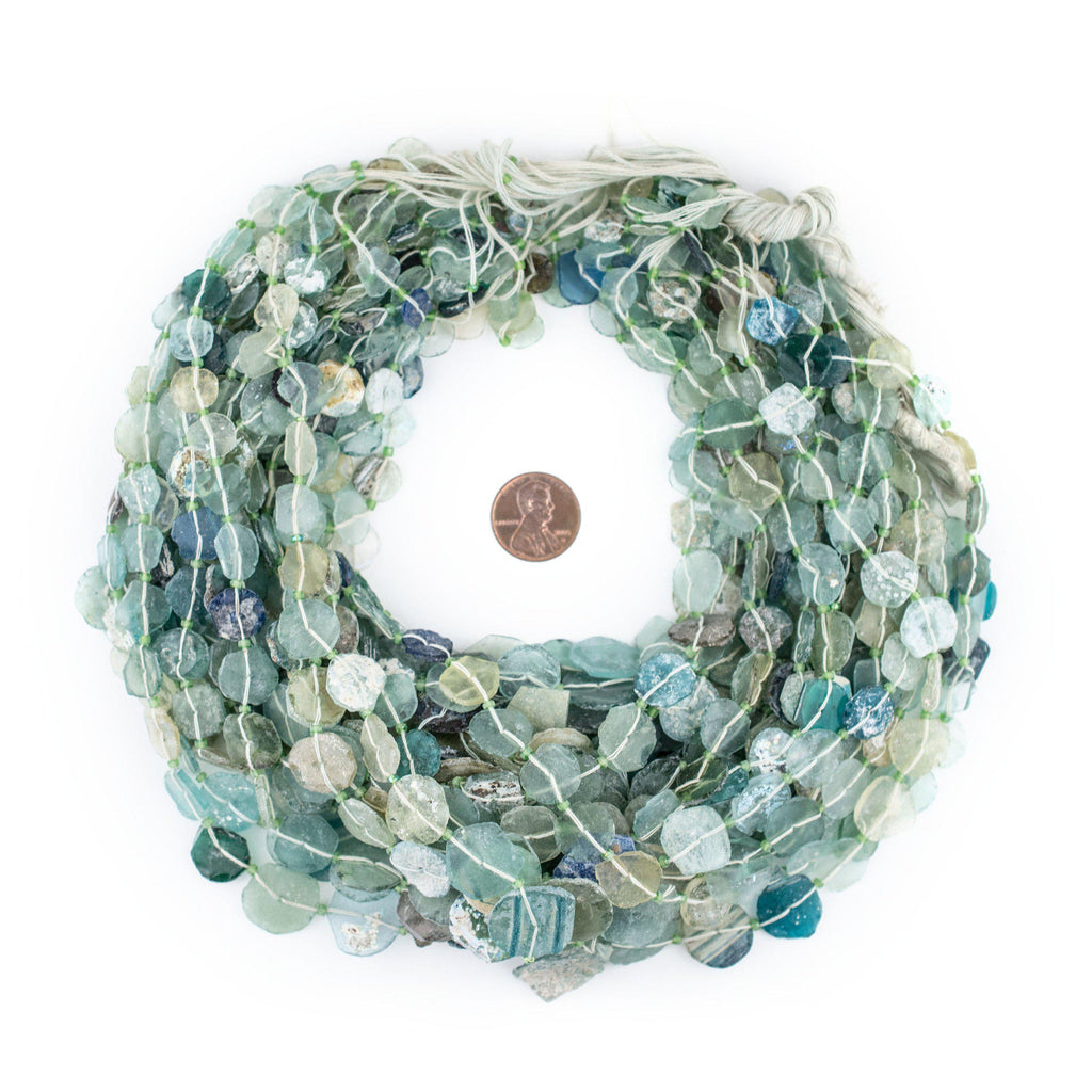 Circular Disk Graduated Ancient Roman Glass Beads (9-16mm) - The Bead Chest