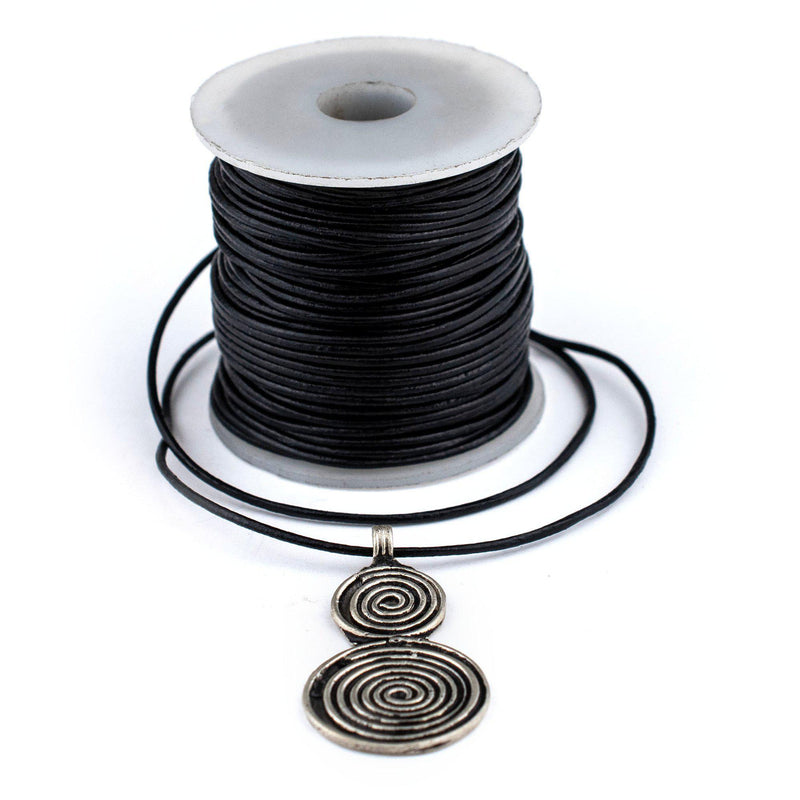1.0mm Black Round Leather Cord (75ft)