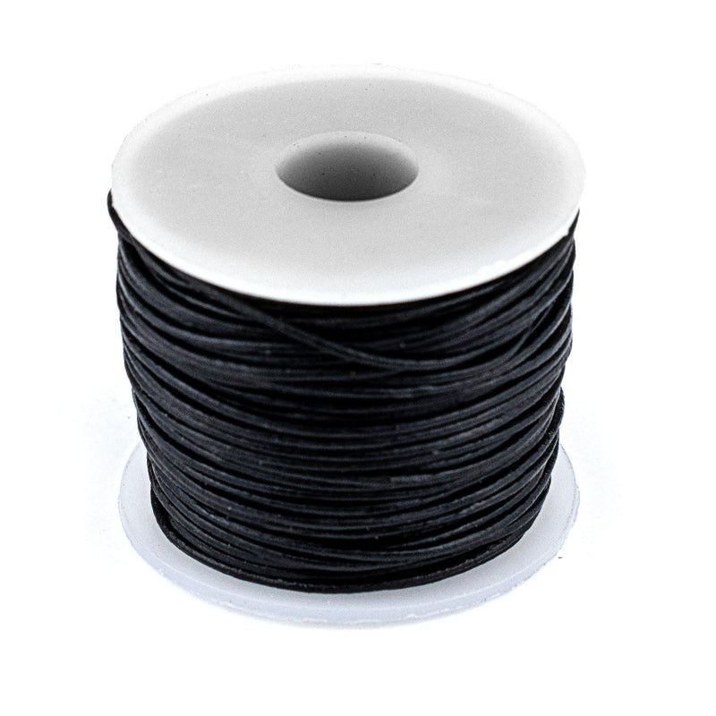 0.8mm Black Round Leather Cord (75ft)