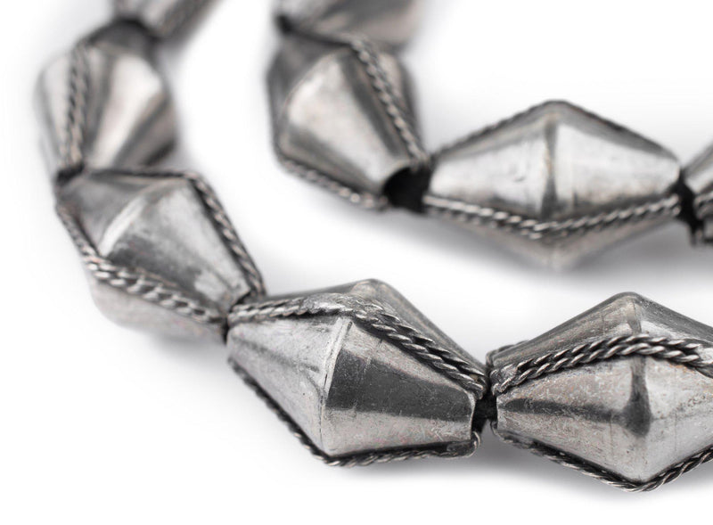 Jumbo Ethiopian Wired Silver Bicone Beads (28x20mm) - The Bead Chest