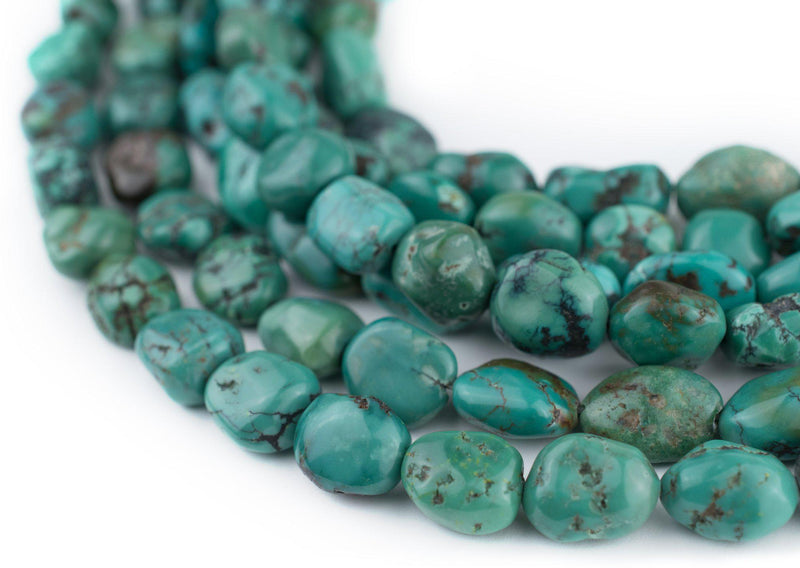 Dark Aqua Turquoise Oval Beads (15x8mm) - The Bead Chest