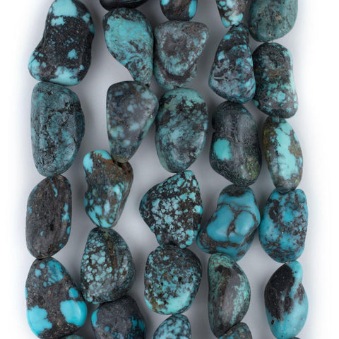 Dark Blue Turquoise Nugget Beads (17x8mm) - The Bead Chest