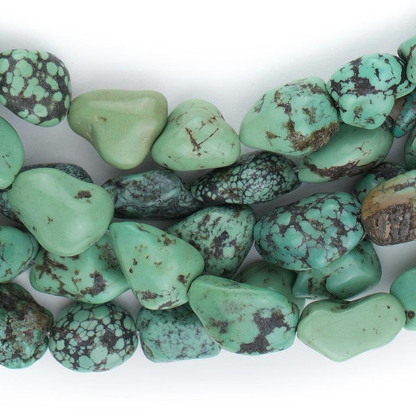 Green Turquoise Nugget Beads (13x8mm) - The Bead Chest