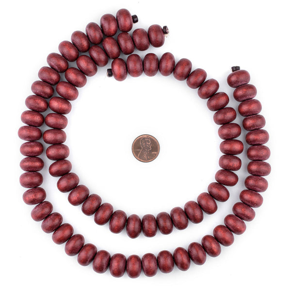Cherry Red Abacus Natural Wood Beads (10x15mm)