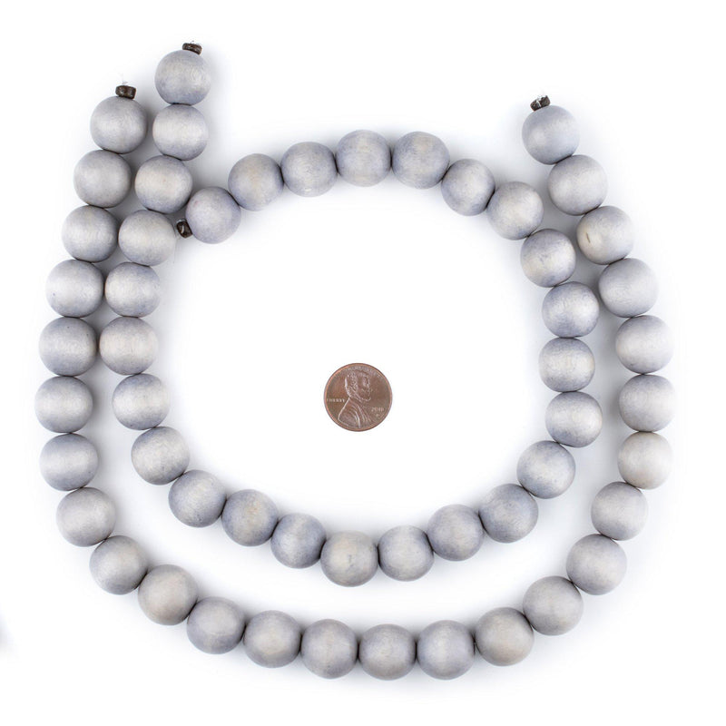 Light Grey Round Natural Wood Beads (16mm) - The Bead Chest