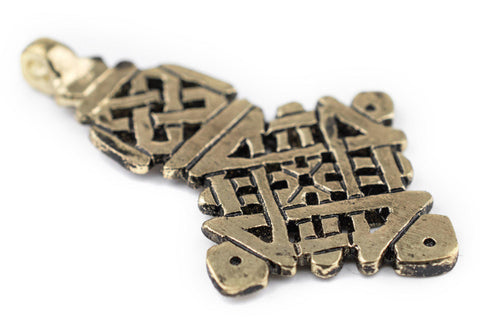 Awash Brass Ethiopian Coptic Cross Pendant (40x65mm) - The Bead Chest