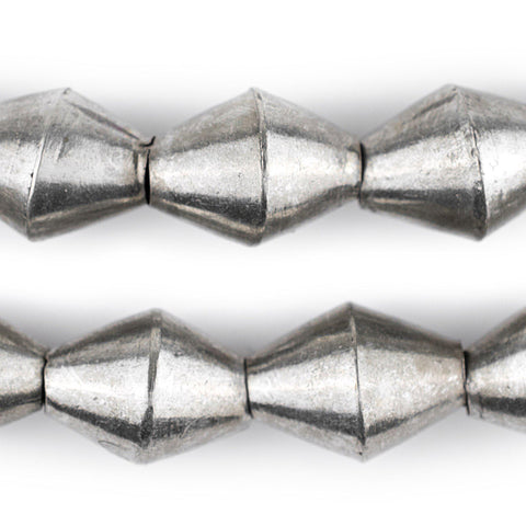 Silver Mali Bicone Beads (22x16mm) - The Bead Chest
