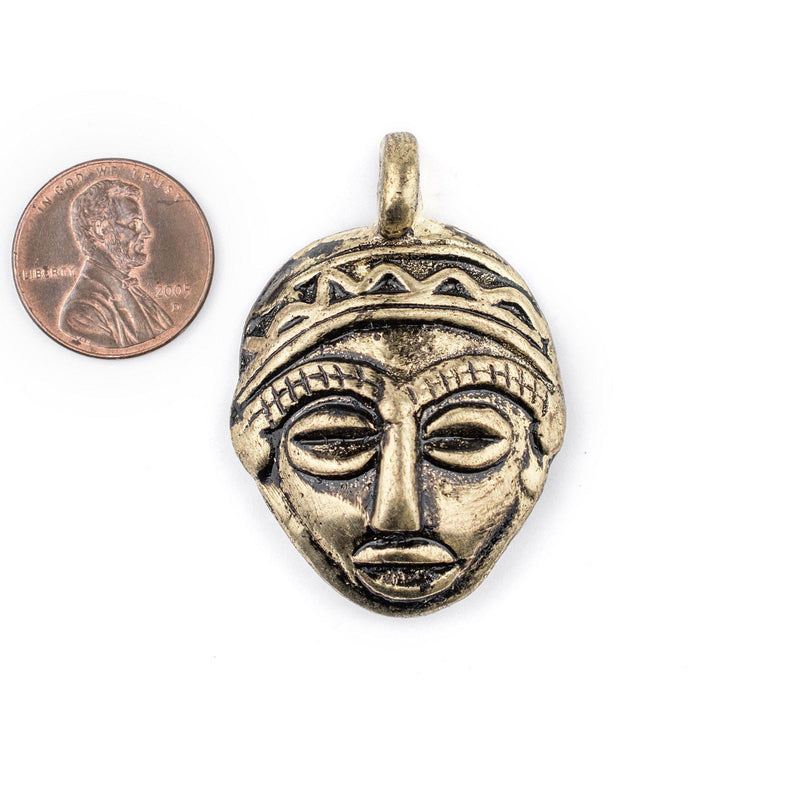 African Brass Mask Pendant (30x45mm) - The Bead Chest