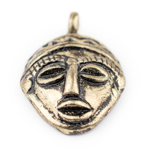 Image of African Brass Mask Pendant (30x45mm) - The Bead Chest