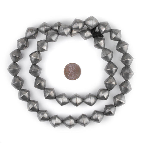 Silver Mali Bicone Beads (15mm) - The Bead Chest