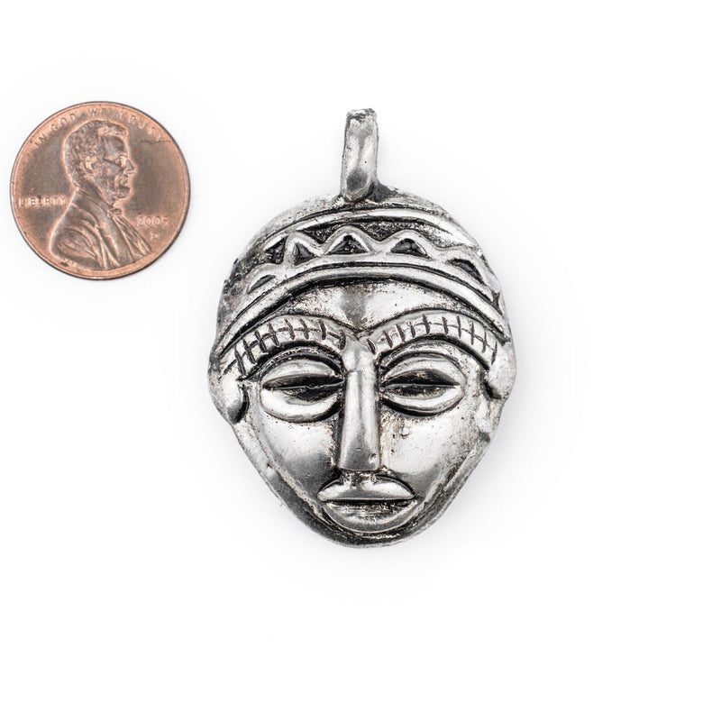 African Silver Mask Pendant (30x45mm) - The Bead Chest