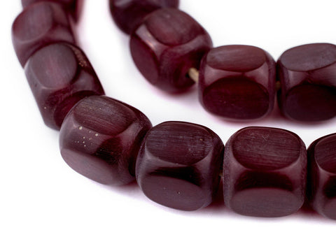 Dark Red Amber Resin Cube Beads (18mm) - The Bead Chest