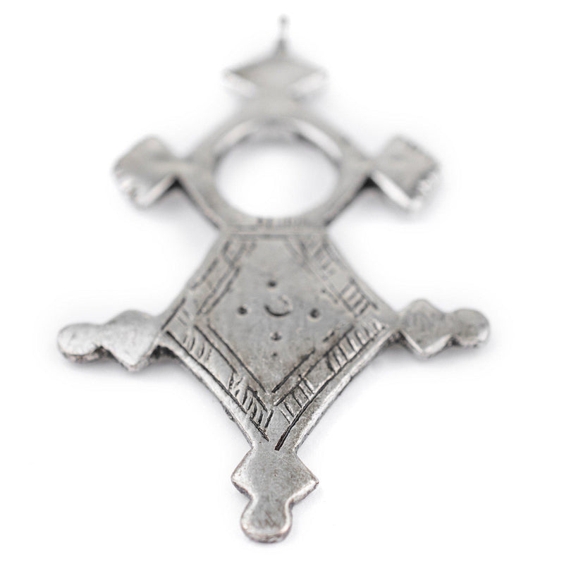 Amgala Silver Moroccan Tuareg Cross Pendant (44x76mm) - The Bead Chest