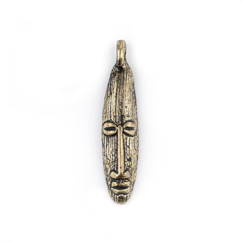 Elongated Mask Brass Pendant from Africa (47x11mm) - The Bead Chest