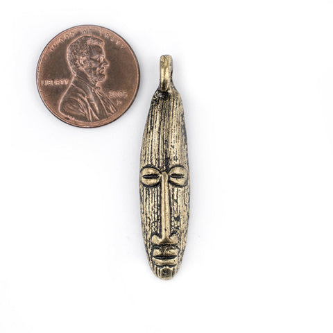 Image of Elongated Mask Brass Pendant from Africa (47x11mm) - The Bead Chest